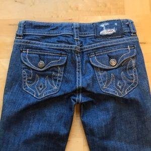 Mel blue jeans 26/34 cream seams bootcut like new